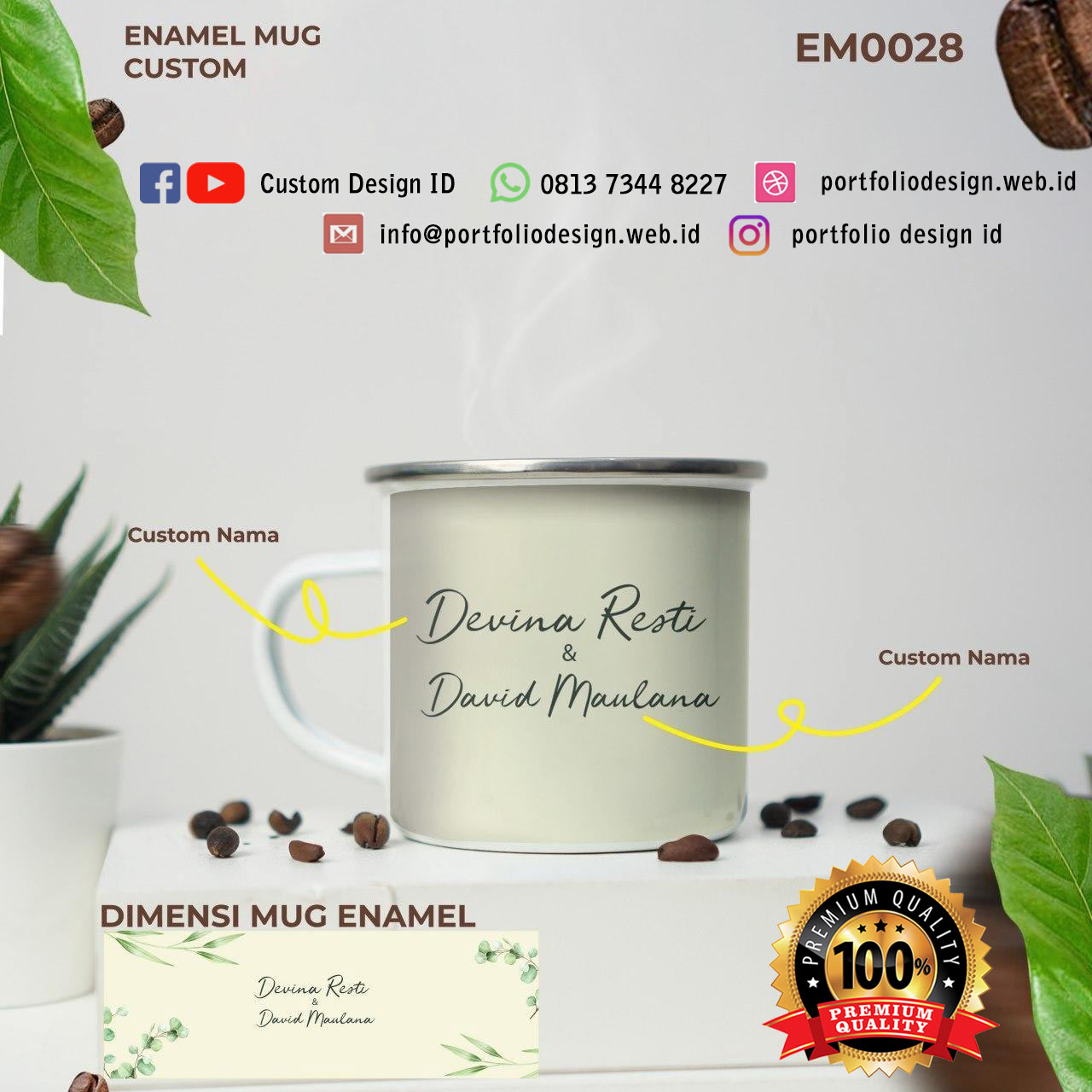 Custom nama mug couple wedding unik free jasa desain EM0028
