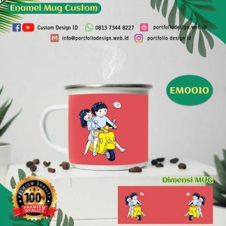 Vespa couple romantis custom design mug enamel EM0010